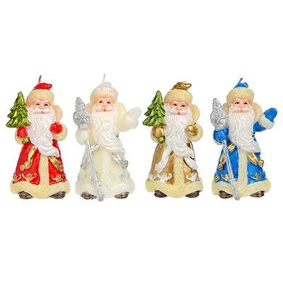 396-467 СНОУ БУМ Свеча в виде Деда Мороза, 10,7см, парафин, 4 дизайна