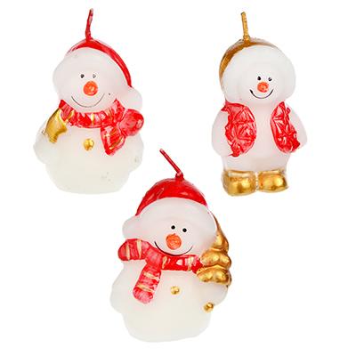 396-476 СНОУ БУМ Свеча в виде Снеговика в подарочной упаковке, 6,5см, парафин, 4 дизайна