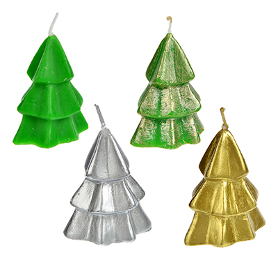396-477 СНОУ БУМ Свеча в виде елки в подарочной упаковке, 6,5см, парафин, 4 дизайна