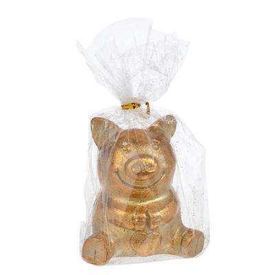 398-224 СНОУ БУМ Сувенир в виде сидящей свинки, 6,5х4,9х7см, полистоун, бронза