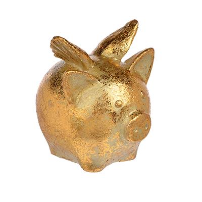398-225 СНОУ БУМ Сувенир в виде свинки с крыльями, 5,4х6,5х7см, полистоун, бронза