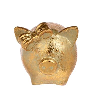 398-226 СНОУ БУМ Сувенир в виде свинки с бантиком, 5,8х6,4х5,6см, полистоун, бронза