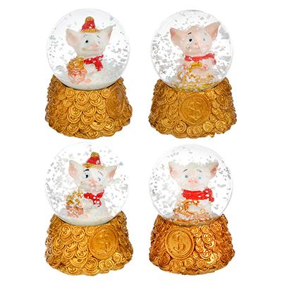 359-635 СНОУ БУМ Снежный шар с поросенком, 6,5см, полистоун, 4 дизайна