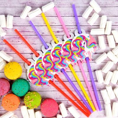 530-207 Набор трубочек для напитков 6шт, бумага, пластик, 26х15см, с изображением единорога