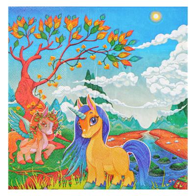 530-209 Салфетки бумажные праздничные 12шт, 33х33см, с изображением единорога