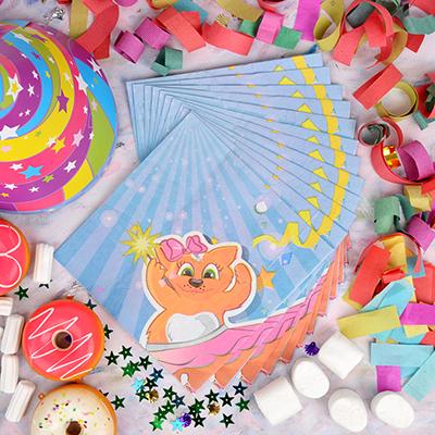 530-210 Кот Салфетки бумажные 12шт, праздничные, 33х33см