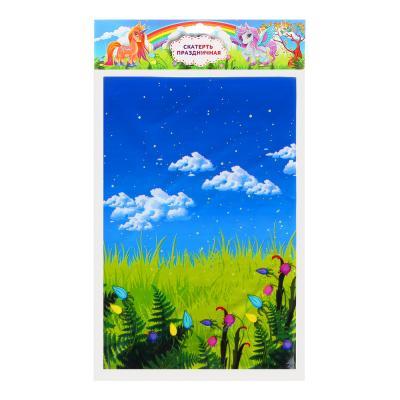 530-211 Скатерть праздничная, полиэтилен, 180х108см, 30мкм, с изображением единорога