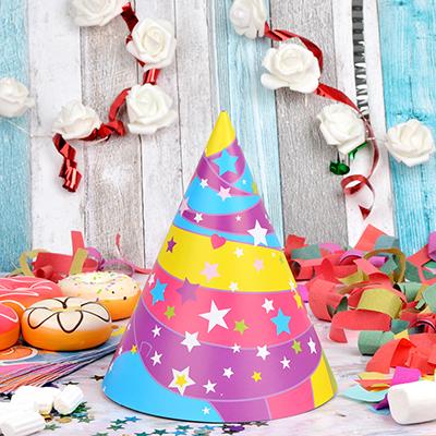 585-009 Набор бумажных колпаков 6шт, праздничных, 40х20см, с изображением Единорога
