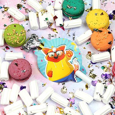 585-012 Кот Набор гудков 6шт, 20х19см, бумага, пластик