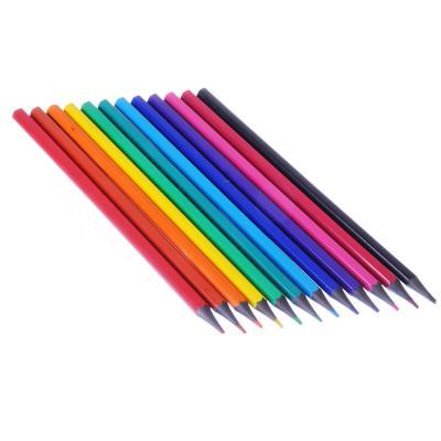 228-066 Карандаши 12 цветов шестигранные заточенные, пластик под черное дерево, в к/к с подвесом