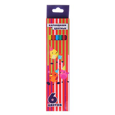 228-067 Карандаши 6 цветов шестигранные заточенные, пластик под черное дерево, в к/к с подвесом