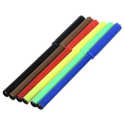 256-135 Фломастеры 6 цветов 12,6см x 7,2мм, с цветным вент.колпачком, пластик, в ПВХ пенале с подвесом
