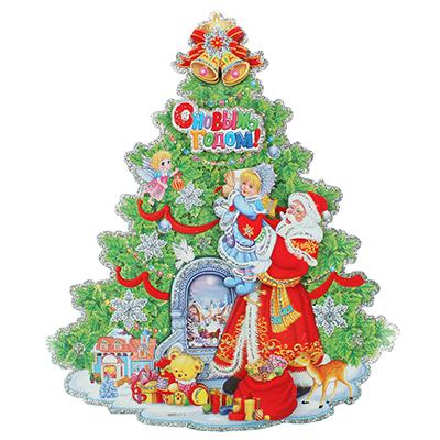 336-258 Панно бумажное СНОУ БУМ с Елкой и Дедом Морозом, 34х40см