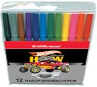 "256-137 Erich Krause Фломастеры 12 цветов, в ПВХ пенале, пластик, чернила, ""Хот Вилс"", арт.43173"