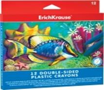 232-008 Erich Krause Мелки восковые пластиковые 12 цветов, двусторонние, в картонной коробке, арт. 34928