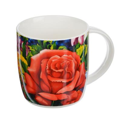 """806-264 Кружка фарфоровая 350 мл, 4 дизайна, """"Любимые цветы"""""""