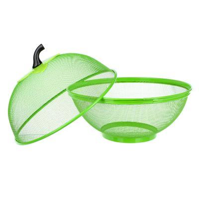 844-089 Ваза для фруктов, d-25 см, металл + пластик, 3 цвета
