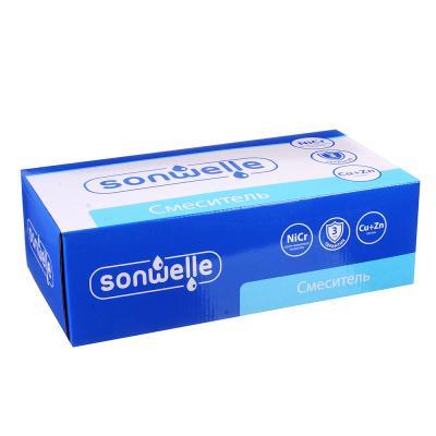 594-067 SonWelle Смеситель для ванны Агена, длинный излив, картридж 35мм, с комплектом для душа, латунь