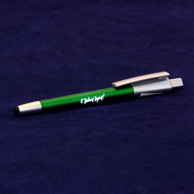 """626-011 Авторучка шариковая синяя, со стилусом и светящ. лого """"Новогодняя"""",c батарейкой AG3, пласт.,в пакете"""