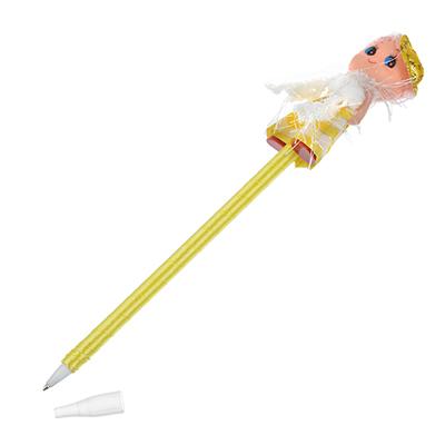 """627-026 Шариковая синяя ручка, корпус обтянутый тканью, пластик, полиэстер, в пакете, """"Куколка"""""""