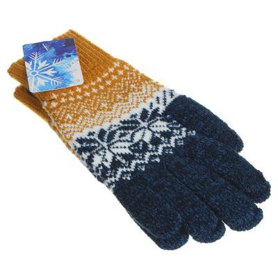 363-177 Перчатки молодежные контактные с рисунком, 100% акрил, размер универсальный, 3-6 цветов