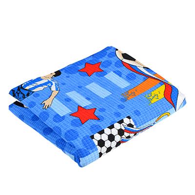 "484-877 Полотенце банное вафельное синее ""Футбол"" 80х150см"