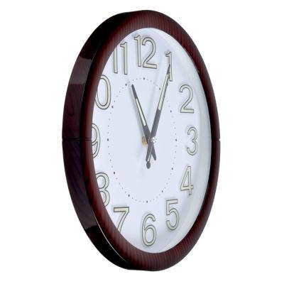 581-723 Часы настенные, 30 см, флуоресцентные цифры, пластик, 1хАА