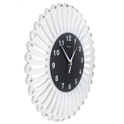 581-731 Часы настенные, МДФ со стразами, 40 см, 1хАА, белые, арт 02