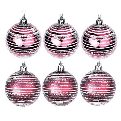 373-156 СНОУ БУМ Набор шаров с орнаментом 6шт, 6 см, пластик, пурпурный, подарочная упаковка, 2 вида