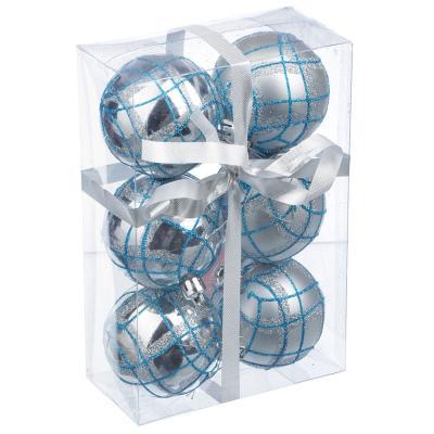 373-158 СНОУ БУМ Набор шаров с орнаментом 6шт, 6 см, пластик, серебро, подарочная упаковка, 4 вида