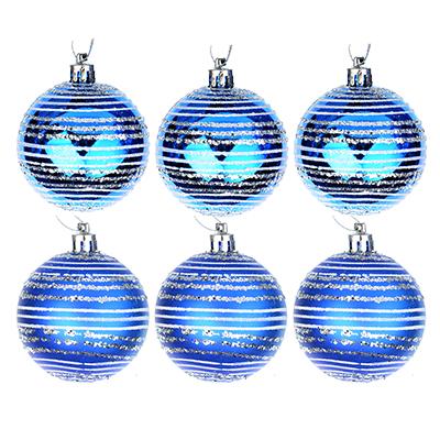 373-159 СНОУ БУМ Набор шаров с орнаментом 6шт, 6 см, пластик, синий, подарочная упаковка, 3 вида