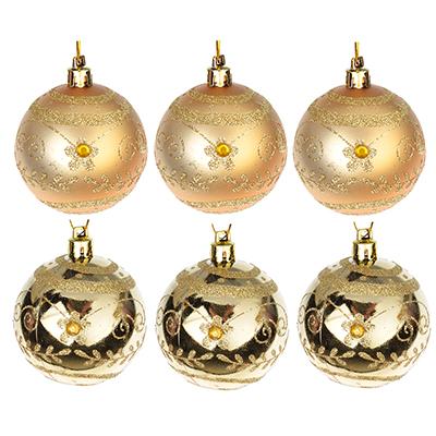 373-160 СНОУ БУМ Набор шаров с орнаментом 6шт, 6 см, пластик, золото, подарочная упаковка