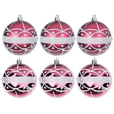 373-161 СНОУ БУМ Набор шаров с орнаментом 6шт, 8см, пластик, пурпурный, подарочная упаковка