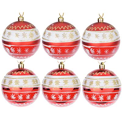 373-162 СНОУ БУМ Набор шаров с рисунком 6шт, 8см, пластик, красный, подарочная упаковка