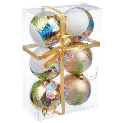 373-163 СНОУ БУМ Набор шаров с рисунком 6шт, 8см, пластик, золото, подарочная упаковка