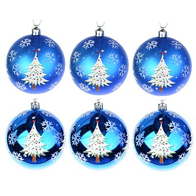 373-164 СНОУ БУМ Набор шаров с рисунком 6шт, 8см, пластик, синий, подарочная упаковка