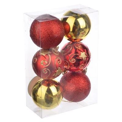 373-166 СНОУ БУМ Набор шаров с узором 6шт, 7см, пластик, красный и золото