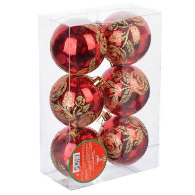 """373-171 СНОУ БУМ Набор шаров """"Розы"""" 6шт, 7см, пластик, красный, золото, 2 дизайна"""