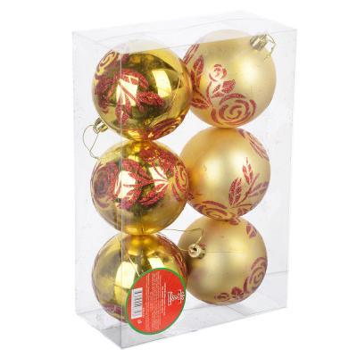 """373-173 СНОУ БУМ Набор шаров """"Розы"""" 6шт, 8см, пластик, красный, золото, 2 дизайна"""