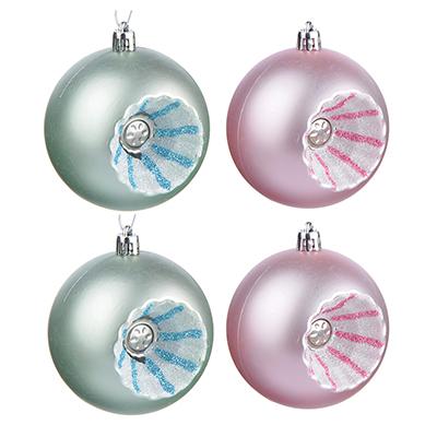 373-174 СНОУ БУМ Зефир Набор рельефных шаров 4шт, 8см, пластик, розовый, мятный