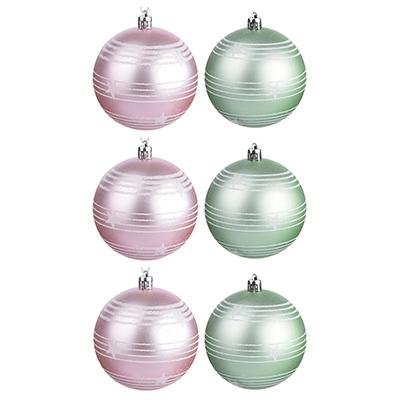 373-175 СНОУ БУМ Зефир Набор узорных шаров 6шт, 8см, пластик, розовый, мятный