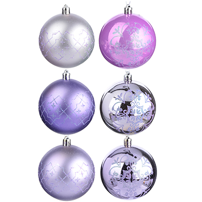 373-176 СНОУ БУМ Набор шаров 6шт, 8см, пластик, лиловый
