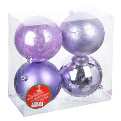 373-177 СНОУ БУМ Набор шаров 4шт, 10см, пластик, лиловый