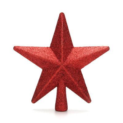 344-131 СНОУ БУМ Звезда на елку 20 см, пластик, красный, золото
