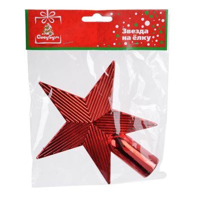 344-132 СНОУ БУМ Звезда на елку 13 см, пластик, красный, золото