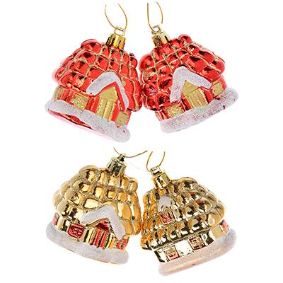 376-615 СНОУ БУМ Сказка Набор украшений 2шт, 5см, пластик, в виде домика, красный, золото