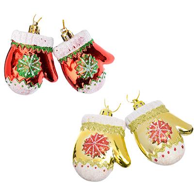 376-617 СНОУ БУМ Сказка Набор украшений 2шт, 6см, пластик, в виде рукавички , красный, золото