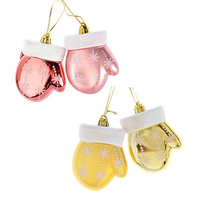 376-618 СНОУ БУМ Зефир Набор украшений 2шт, 8см, пластик, в виде рукавички, розовый, золото