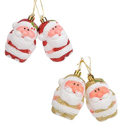 376-620 СНОУ БУМ Сказка Набор украшений в виде Деда Мороза 2шт, 6см, пластик, красный, золото