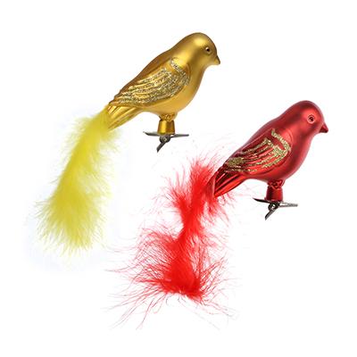 """374-209 СНОУ БУМ Украшение на клипе 9см, пластик, """"Птица с хвостом"""", красный, золото"""